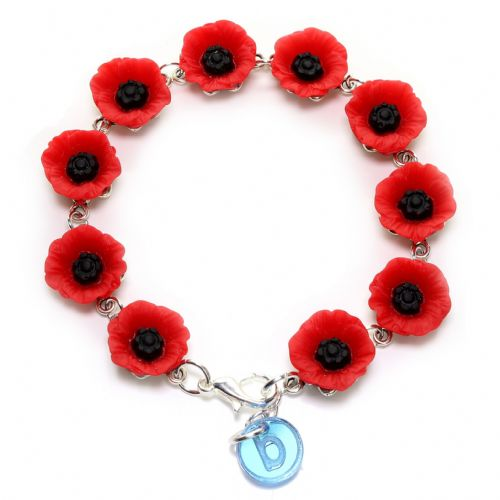 Bluebubble POPPY DAYS Red Flower Charm Bracelet With FREE Gift Box